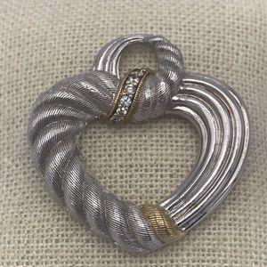 Judith Ripka 925 Silver 14Kt Clad Heart Pendant